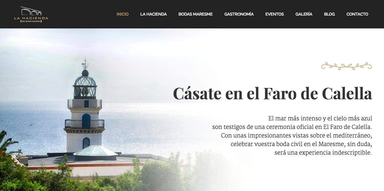 Home Web: Cásate en el Faro de Calella